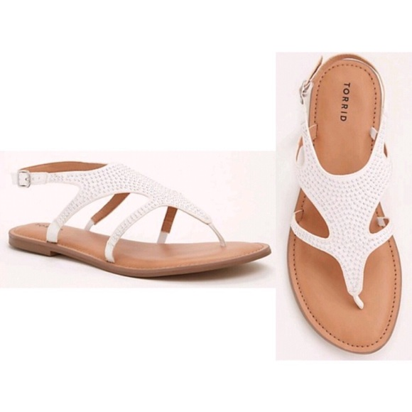 White Studded Tstrap Sandals Wide Width